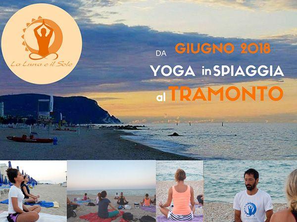 locandina corsi di yoga in spiaggia a porto recanti